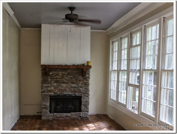 fireplace in sunroom renovation