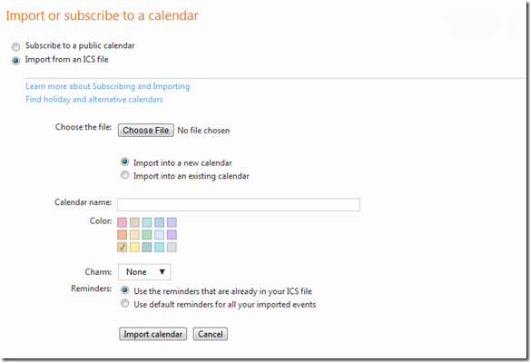 Import ot Subscribe to a Calendar request