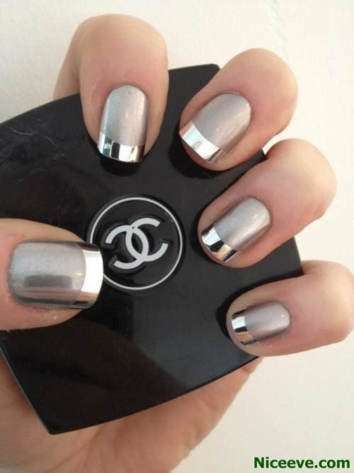 Beautiful Spring Nails With Silver Design 2014