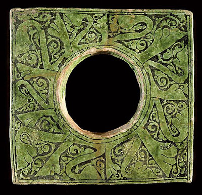 Tile | Origin: Eastern Mediterranean | Period:  11th century | Collection: The Nasli M. Heeramaneck Collection, gift of Joan Palevsky (M.73.5.218) | Type: Ceramic; Architectural element, Earthenware, incised in champlev technique, white engobe, underglaze painted, 8 3/4 x 8 3/4 in. (22.23 x 22.23 cm)