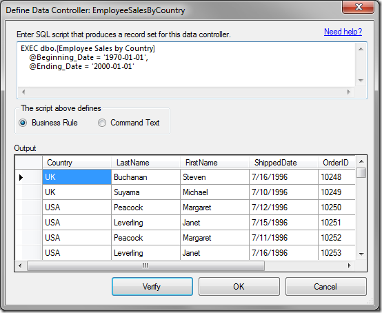 "The script has been verified and the results can be seen in the data grid on the ""Define Data Controller"" window."
