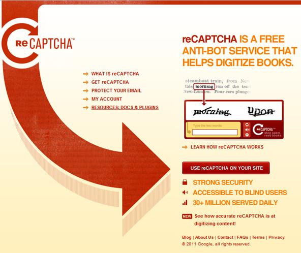 reCAPTCHA helps digitize books