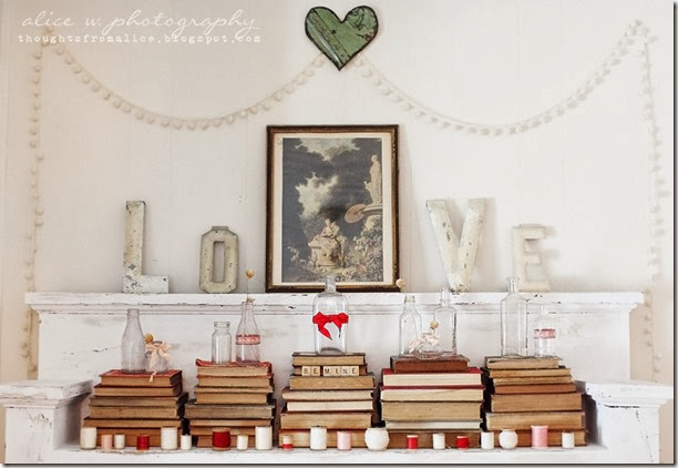 Vintage Love Mantel Vignette