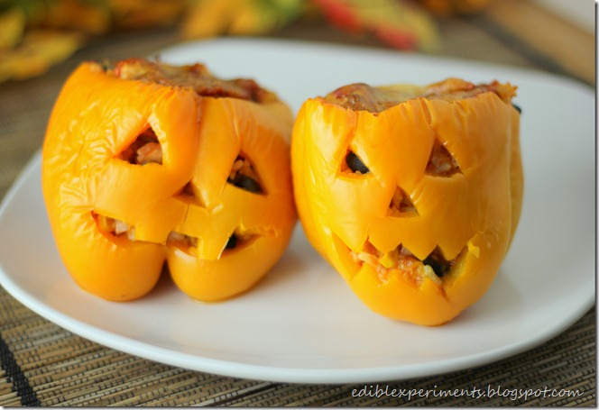 Jack O Lantern Stuffed Bell Peppers