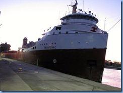 5274a Michigan - Sault Sainte Marie, MI - Soo Locks  - Canadian freighter Frontenac leaving MacArthur Lock