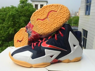 nike lebron 11 gr black white red mango 2 01 independence day This USA Themed Nike LeBron XI Drops on... Independence Day