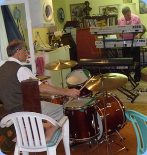 Damien Shalfoon on drums accompanying John Bercich on keyboards