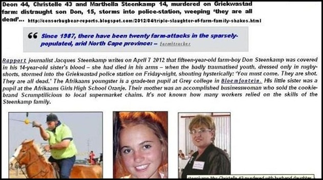 Steenkamp Deon Christelle daughter 14 murdered Griekwastad THUMB Apr72012 COMBINED STORY