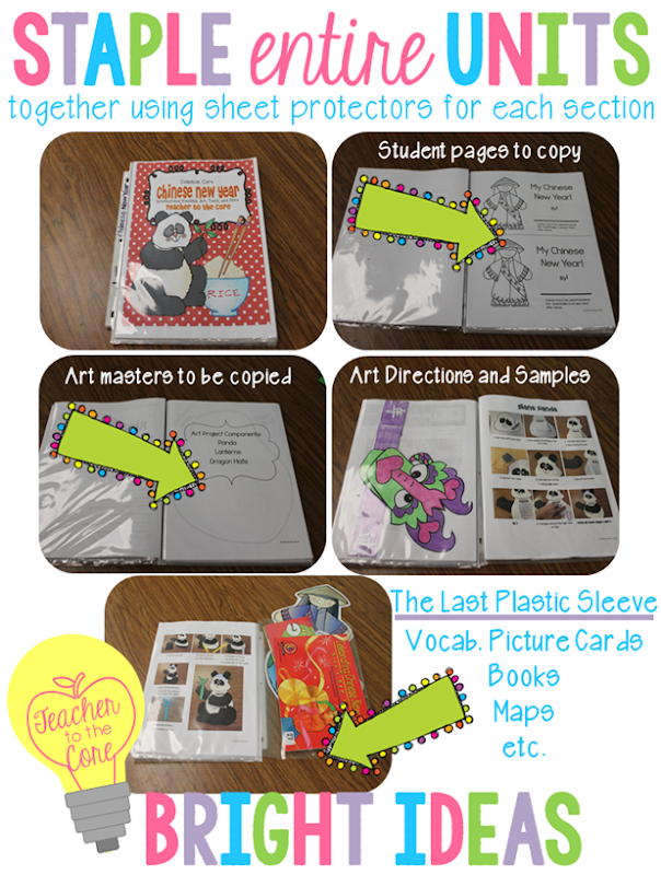 Organize entire TpT units in plastic sleeves -then staple and file- EASY