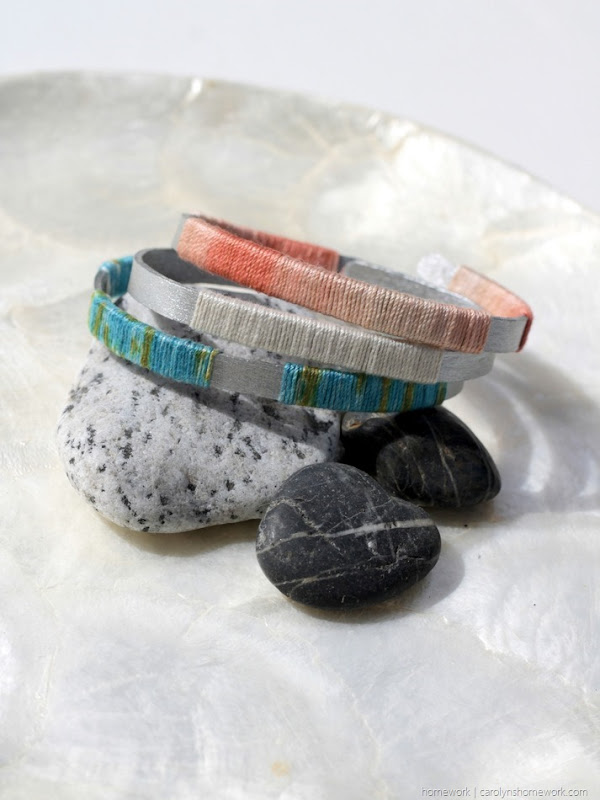 Craft Stick Twine Wrapped Bangle Bracelets via homework