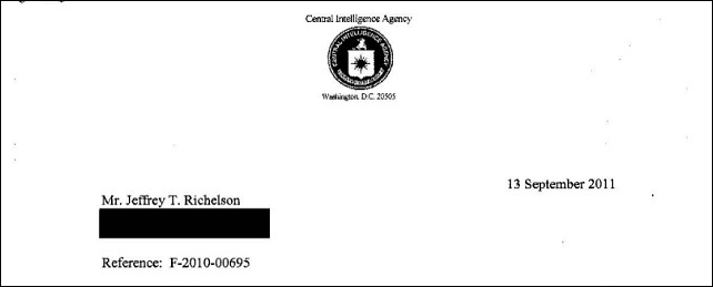 National Security Archive scholar Jeffrey Richelson's Freedom of Information Act request for 'Any studies or reports (greater than 5 pages in length) produced by the CIA Center on Climate Change and National Security concerning impacts of global warming' was denied. Graphic: Jeffrey Richelson / io9