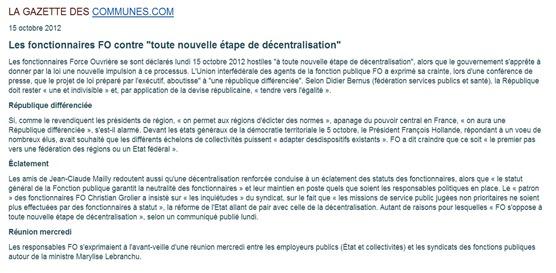 comunicat FO contra la decentralizacion