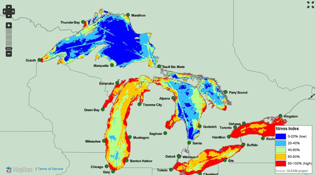 This map merges data for all major categories of environmental stressors to the Great Lakes, ranging from climate change to pollution to invasive species. greatlakesmapping.org