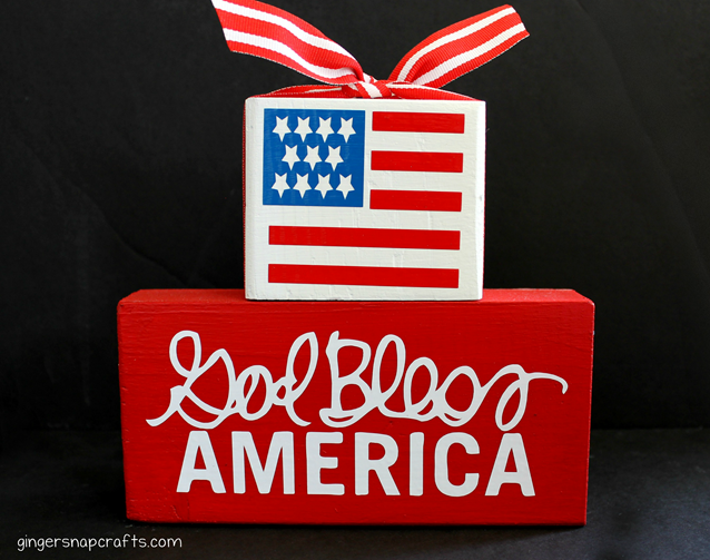 God Bless America craft block with Silhouette