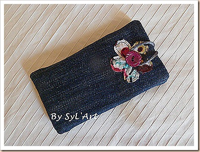 pochette jean et fleur
