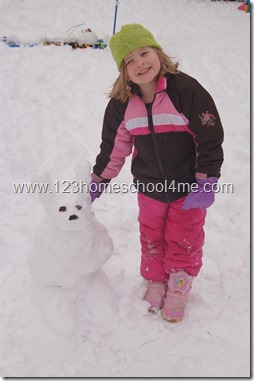 Build a snowman bunny winter activity