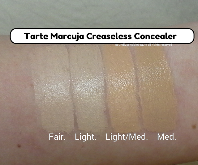 Tarte Marcuja Creaseless Concealer; Full Cover Review & Swatches of Shades  Fair, Light, Light/Medium, Medium,