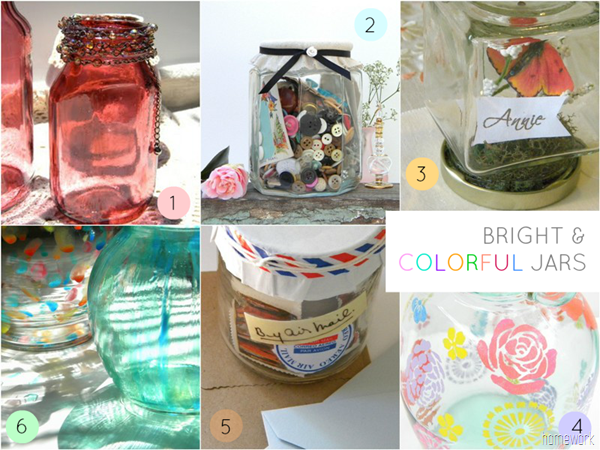 Bright and Colorful Jars Collage