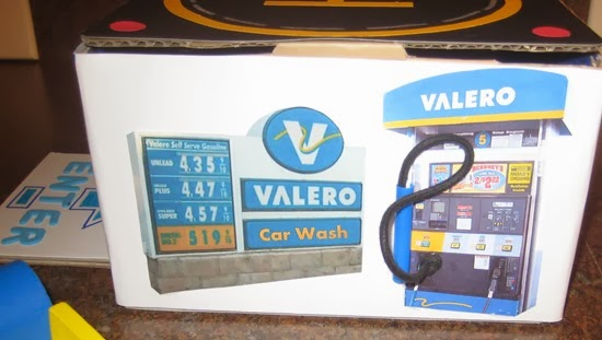 Cardboard Toy Car Wash, Helicopter Pad, ATM, and Gas Station Pump Valero, Chase Bank 112