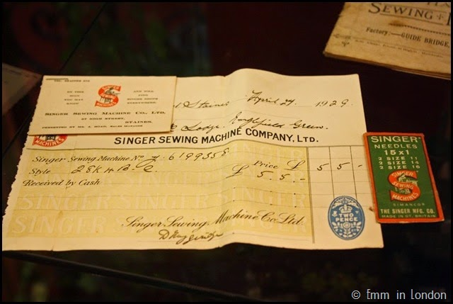 London Sewing Machine Museum vintage receipt