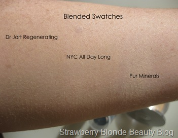 Pale-skin-foundation-swatches-NYC-Pur-Minerals-Dr-Jart-Regenerating