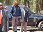 Au milieu, le prsident rwandais Paul Kagame lors d&#039;une visite  Goma en RDC.