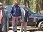 Au milieu, le président rwandais Paul Kagame lors d'une visite à Goma en RDC.