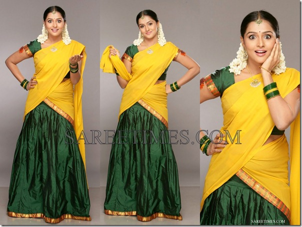 Ramya_Nambeesan_Yellow_Green_Half_Saree