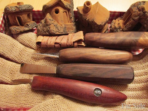 Tools and bark carvings