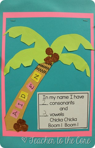 Name Art inspided by Chicka Chicka Boom Boom. Unit also includes vowel hunts and mystery pictures. This is PERFECT for first grade or end of kinder, and will get the students instantly identifying the vowels