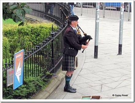 Scottish pipers are plentiful around the city.