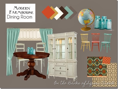 gray turquoise dining room