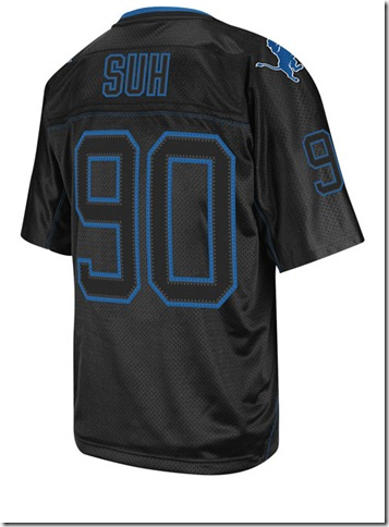 "The Detroit Lions' Ndamukong Suh black premier ""Lights Out"" jersey."