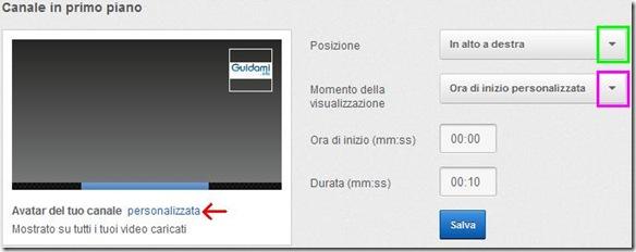 YouTube Programmazione InVideo impostazioni del logo