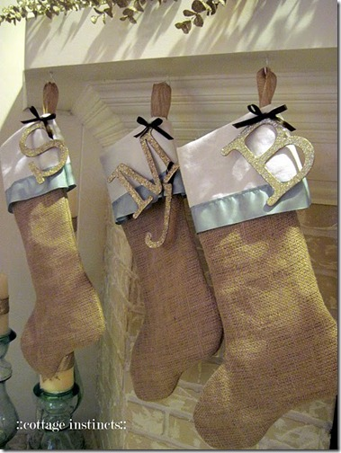 burlap stockings via pinterest