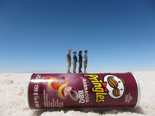 No photoshop involved - playing around with the optical illusions on the salt flats.