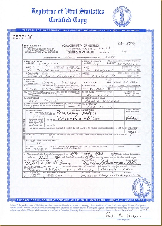 Jimmy Richard Irwin deathcert