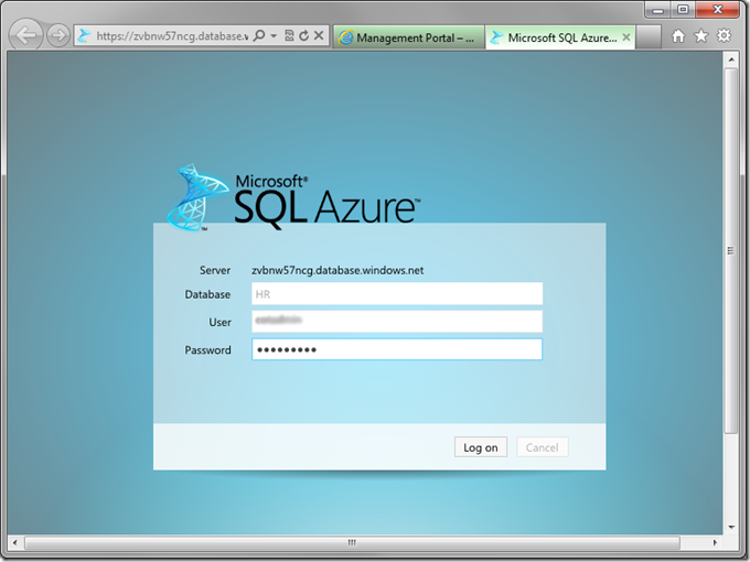 Log in to Microsoft SQL Azure database management site