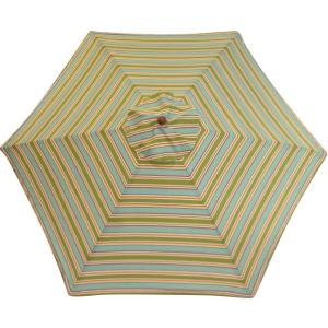 This umbrella screams summer to me. The cool colors and striped pattern belong on the beach. (homedepot.com)