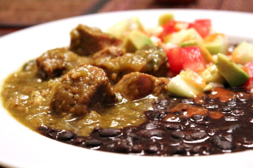 Pork Chile Verde with Saucy Black Beans