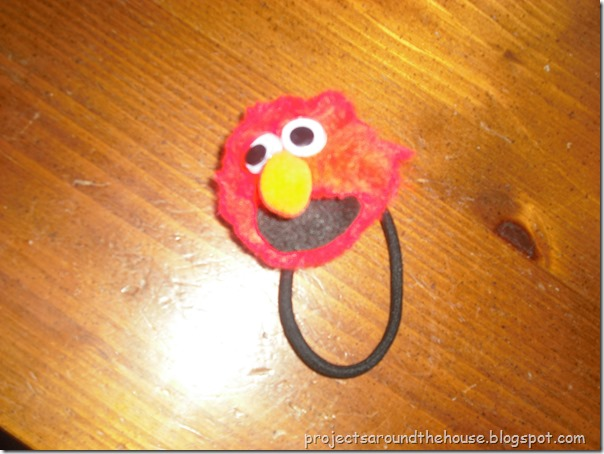 DIY Elmo Ponytail Holder