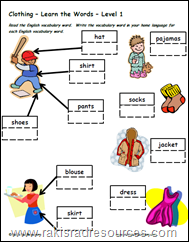 Clothing vocabulary for esl ell students