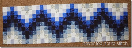 2014 blue Bargello top completed