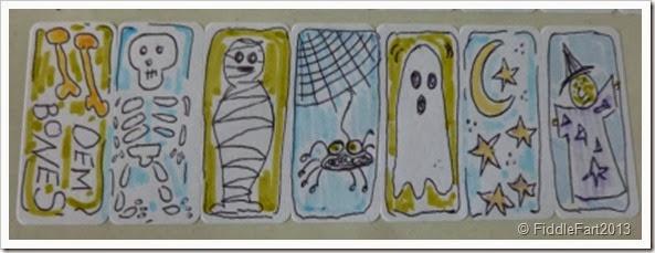 Doodled Halloween stickers.