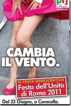 """Il manifesto del Pd per la Festa dell'Unità a Roma. Sotto l'immagine, lo slogan: """"Cambia il vento"""""""