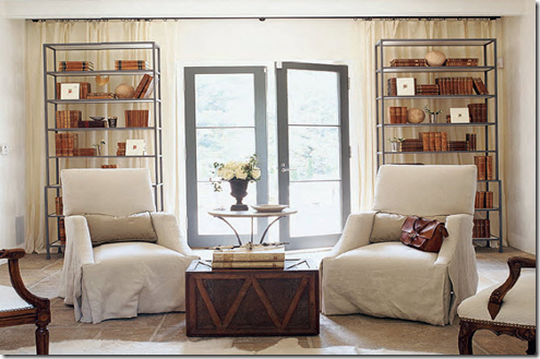 symmetry curtains bookshelves skirted chairs tile floor bates corkern cottage liv designmanifest.blogspot
