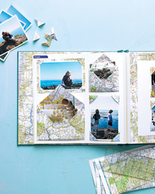 Swapping out scrapbook papers with maps adds visual impact to your memories. (marthastewart.com)