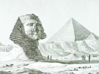 Vue du sphinx et de la grande pyramide, prise du sud-est. Cuivre - Schroeder - 43,2 x 60 cm - Eau-forte, burin