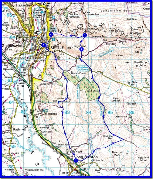 Our route - 17km (11 miles) with about 500m ascent, in 4.5 hours