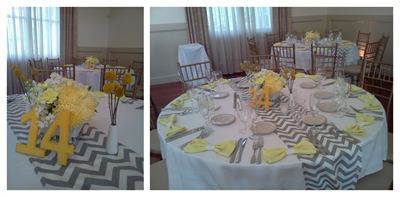 White Yellow and Grey Wedding Flowers